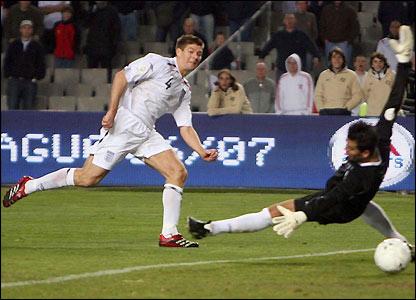 Streven Gerrard scores England's second goal
