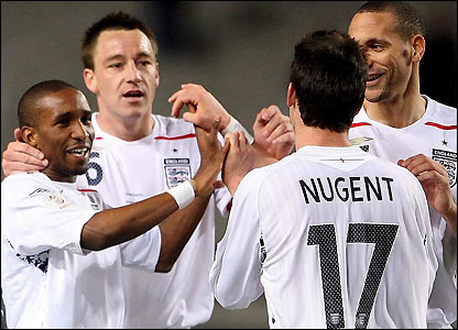 Jermain Defoe and David Nugent celebrate