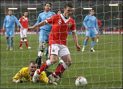Jason Koumas scores Wales' third goal