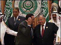Left to Right: King Abdullah, Amr Moussa (secretary general), Hosni Mubarak (Egypt), Jalal Talabani (Iraq), Sheikh Sabah al-Ahmad (Kuwait), Sheikh Hamad bin Khalifa (Qatar)