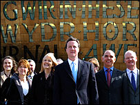 David Cameron, his shadow cabinet and Welsh party leader Nick Bourne in Cardiff the week before the manifesto launch