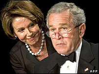 Nancy Pelosi and George W Bush