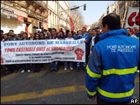Dock workers protest in Marseille