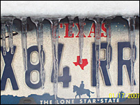 Texas number plate with icicles