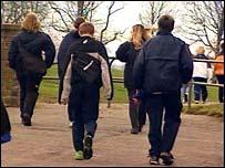 group of teenagers in street