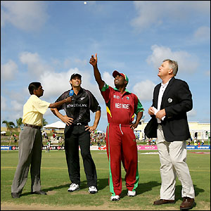 West Indies captain Brian Lara loses the toss