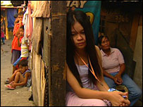 Stephanie in a Manila slum
