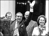 Denis Healey with wife Edna on Budget day