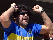 Diego Maradona cheering at a Boca Juniors match on 18 March