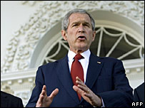 President Bush speaking shortly before the Senate vote