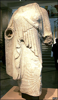 A 6th Century statue of a woman's torso