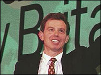 Tony Blair at Labour conference 1997