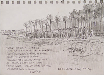 Voters queue in a line ten abreast on Iraqi election day 2005 in a sketch by marine combat artist Michael Fay . (Image courtesy of Michael Fay)
