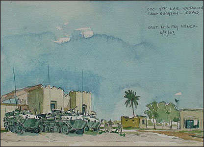 A reserve unit from California sets up a command operations centre in Iraq in a watercolour by marine combat artist Michael Fay (Image courtesy of Michael Fay)