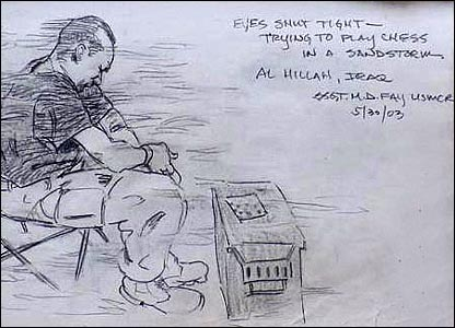 A marine squints against a sandstorm in a sketch by marine combat artist Michael Fay (Image courtesy of Michael Fay)