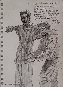 A US soldier frisks an Iraqi voter in a sketch by marine combat artist Michael Fay (Image courtesy of Michael Fay)