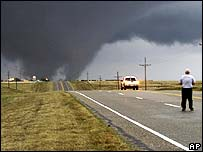 A tornado sweeps through Oklahoma
