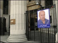 Poster of Alan Johnston outside Bush House