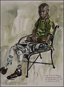 Lance Corporal Andrian Jones at Walter Reed Army Medical Center in a painting by marine combat artist Michael Fay (Image courtesy of Michael Fay)