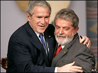 George W Bush and Luis Inacio Lula da Silva meet in Brazil, 9 March 2007