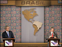 George W Bush and Luis Inacio Lula da Silva speak in Brazil, 9 March 2007