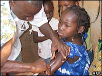 Child being vaccinated against meningitis