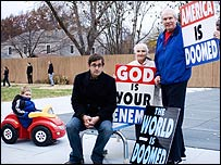 Louis Theroux with (left to right) Noah Phelps-Roger, Margie Phelps and Pastor Fred Phelps