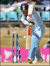 Sachin Tendulkar is bowled for a duck against Sri Lanka