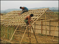 people building homes at the site of the reservoir
