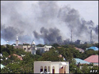 Smoke rising on the horizon in Mogadishu