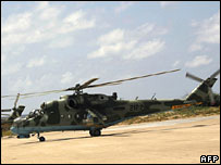 Ethiopian army helicopters at Mogadishu's airport