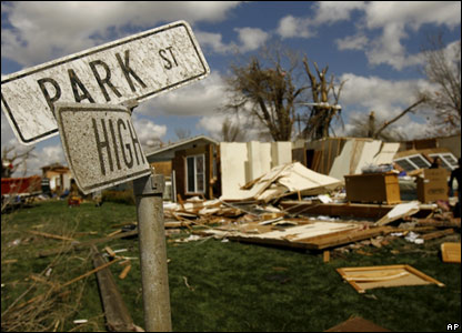 Tornado damage in Holly, Colorado, 29 March
