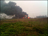 Scene of the oil tank fire (picture from Mark Pallett)