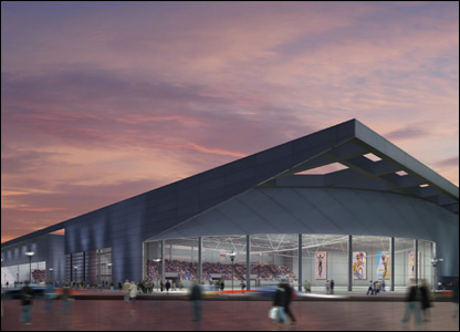 An artist's impression of the proposed Velodrome (courtesy of Designive/Glasgow 2014)