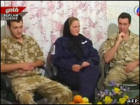 Faye Turney, Nathan Summers and a colleague in a video released by Iran