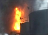 Scene of the oil tank fire