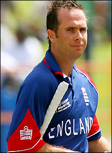 Michael Vaughan shows his disappointment at scoring only six runs