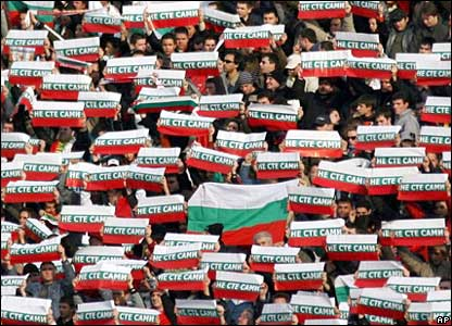 Bulgarian football fans with banners supporting nurses jailed in Libya