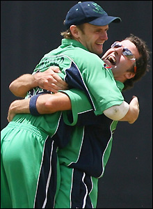 Porterfield and McCallan celebrate their prize scalp