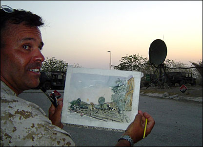 Marine combat artist Michael Fay at work in Iraq (Photo courtesy of Michael Fay)