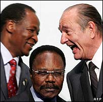 (from left) President of Burkina Faso Blaise Compaore, Gabonese President Omar Bongo Ondimba and Jacques Chirac