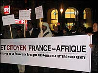 Protest rally in Paris against French policy in Africa