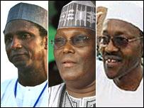 Umaru Yar'Adua (l) Atiku Abubakar (c) Muhammadu Buhari (r)