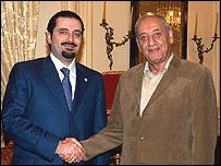 رئيس مجلس النواب نبيه بري ورئيس كتلة المستقبل سعد الحريري