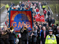 Supporters of the Burberry workers march through Treorchy
