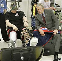 President Bush visits patients at the Walter Reed Army Center