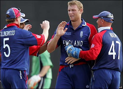 Flintoff celebrates another wicket with team-mates