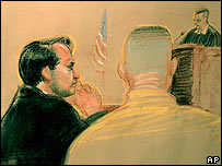 Sketch of David Hicks (left) in court on 30 March 2007