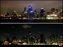 Image showing Sydney skyline before and during the blackout