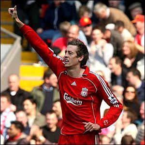Liverpool's Peter Crouch celebrates his opening goal